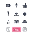 Food drink icons Alcohol and burger signs vector image vector image