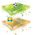 football field and volleyball field vector image vector image