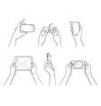 gadgets in hands smart digital mobile devices vector image