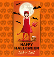 halloween design with cute girl in a demon costume vector image vector image