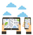 hands with tablet and smartphone navigation map vector image vector image