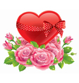 Heart in roses vector image vector image