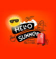 hello summer concept with cute sun and red handbag vector image vector image