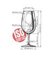 iso standard wine tasting glass vector image vector image