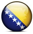 Map on flag button of Bosnia and Herzegovina vector image