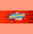 mega sale advertising banner vintage pop art vector image