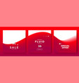 minimal square banner with red color wave vector image