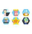 online shopping icons set delivery service e vector image
