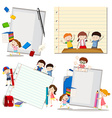 Paper design with children at school vector image vector image