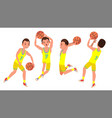 professional basketball player yellow vector image