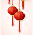 realistic detailed 3d chinese red paper lantern vector image