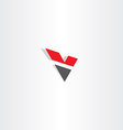 red black letter v logo logotype v icon vector image