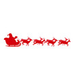 red silhouette of santa in sleigh isolated on vector image