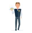 restaurant waiter takes order brings a dish vector image vector image