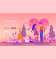 romantic walk - modern flat design style banner vector image