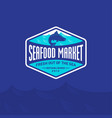 seafood market restaurant logo blue salmon fish vector image vector image