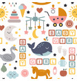 seamless pattern with baby icons for girl