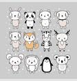 set cute hand drawn animals funny cartoon vector image vector image