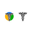 set of caduceus medical sign logo vector image
