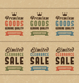 Set of discount sale and quality labels vector image vector image