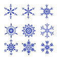 snowflakes set isolated on white background vector image vector image