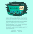 summer sale with 35 off only today promo emblem vector image vector image