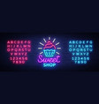 sweet shop logo is neon style candy shop neon vector image vector image
