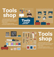 tools shop banners with instruments vector image vector image