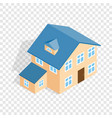 Two storey house with annexe isometric icon