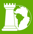 world planet and chess rook icon green vector image vector image