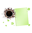 Coffee and Shamrock with A Blank Paper vector image
