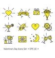Valentine s day icons set in line art style vector image