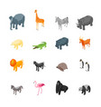 wild animals icons set isometric view vector image