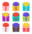 3d presents collection gifts with ribbons and bows vector image vector image