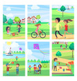 active rest in urban park poster vector image vector image