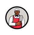 african american butcher circle mascot vector image vector image