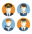 aircraft crew icons set workers in protective vector image vector image