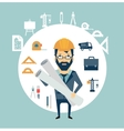 Architect holding blueprints vector image vector image