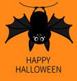 bat hanging on rope happy halloween cute cartoon vector image