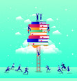 business people team with text books in the sky vector image