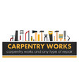 carpentry works any type repair logo of vector image
