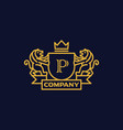 coat arms letter p company vector image vector image