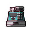color silhouette with cash register with thick vector image vector image