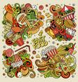 colorful doodles cartoon set fastfood vector image