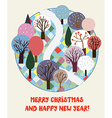 Cute Christmas and New year card with forest