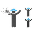dissolved dotted halftone hands up gentleman icon vector image vector image