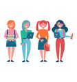 female students with books and modern laptops vector image vector image