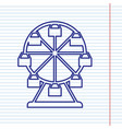 ferris wheel sign navy line icon on vector image vector image
