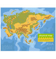 flat asia physical map constructor elements on vector image