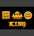 golden logos king crown icons on golden square vector image